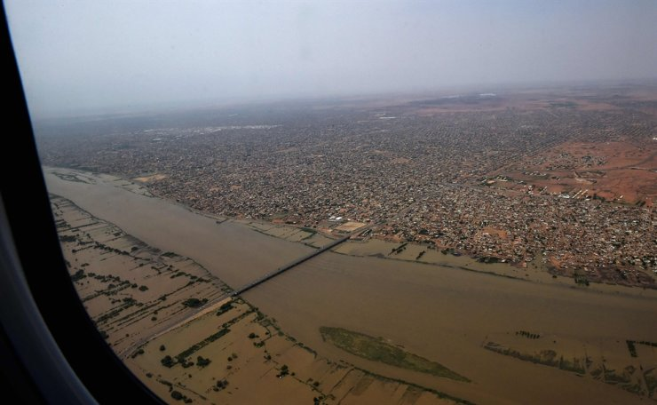 This picture taken on Sept. 14, 2020, shows an aerial view of flooded parts of Sudan's capital Khartoum. Sudanese authorities earlier this month declared a nationwide three-month state of emergency after record-breaking torrential floods, with the country's top officials urging the international community to step their aid efforts. AFP