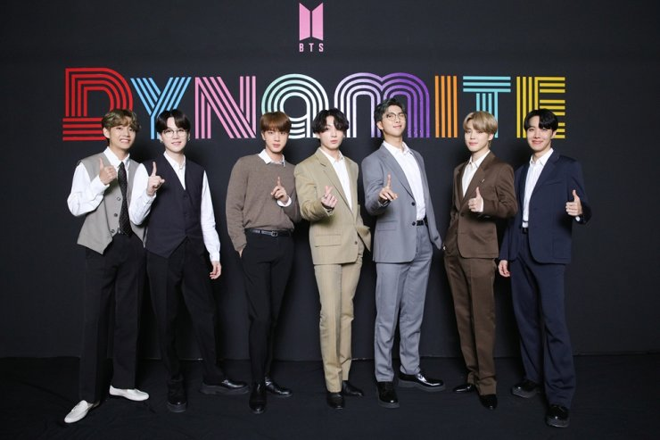 K-pop boy band BTS held an online press event on Wednesday after topping the Billboard Hot 100 chart with its latest single 'Dynamite.' Courtesy of Big Hit Entertainment