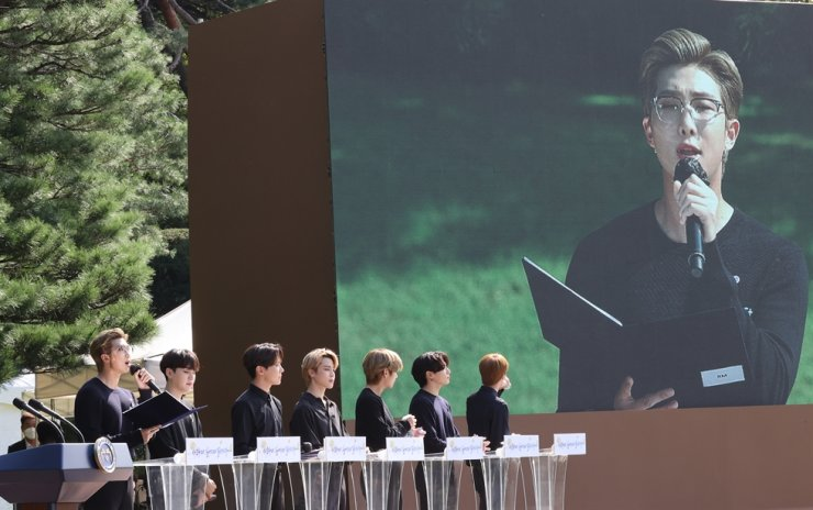 BTS leader RM speaks during the inaugural Youth Day event at Cheong Wa Dae, Saturday. Yonhap