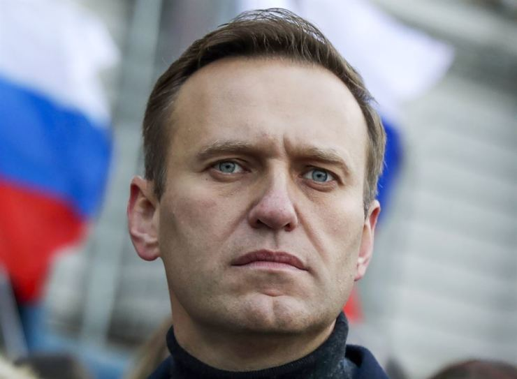 In this Saturday, Feb. 29, 2020 file photo, Russian opposition activist Alexei Navalny takes part in a march in memory of opposition leader Boris Nemtsov in Moscow, Russia. AP-Yonhap