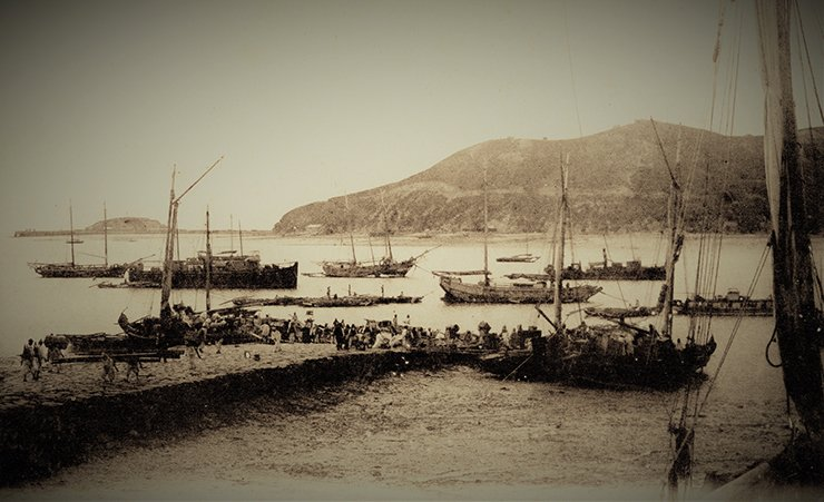 The dock area of Jemulpo Port in the late 19th century. Courtesy of Diane Nars Collection