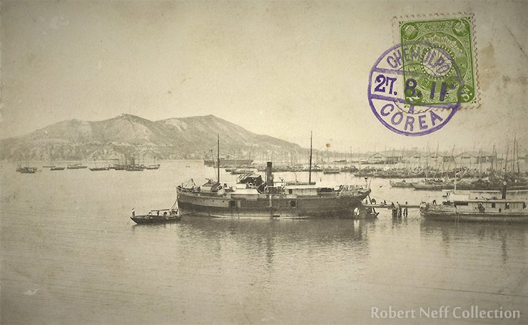 A small steamer in the port of Jemulpo in the early 20th century. Robert Neff Collection