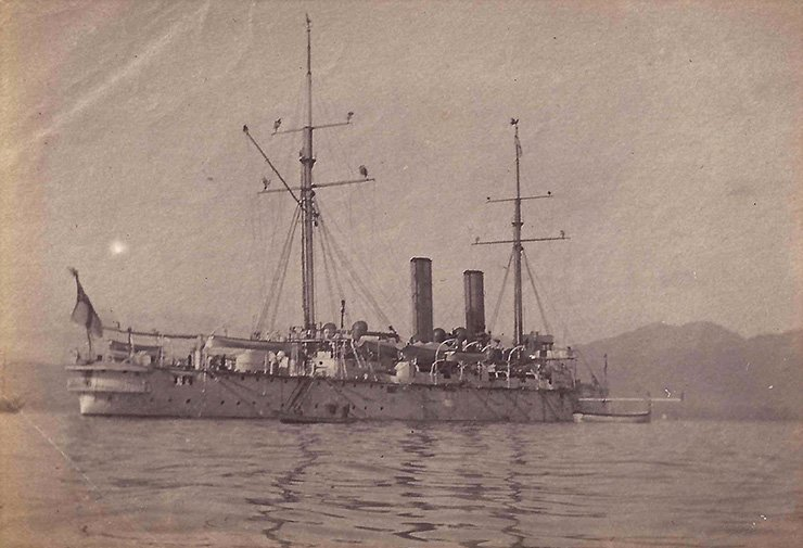 The HMS Grafton in Japan ― notice the ship is decorated with evergreens for the Christmas season. December 1896. Courtesy of Dougal Watson