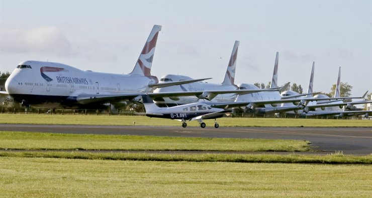 Retired British Airways Boeing 747-400 parked at Cotsworld Airport in Kemble, England, Sunday, Oct. 11, 2020. AP