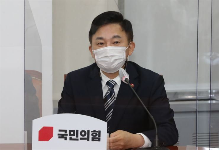 Jeju Governor Won Hee-ryong speaks at a meeting of mayors and governors who are members of the main opposition People Power Party, at the National Assembly in Seoul, Sept. 25. / Yonhap