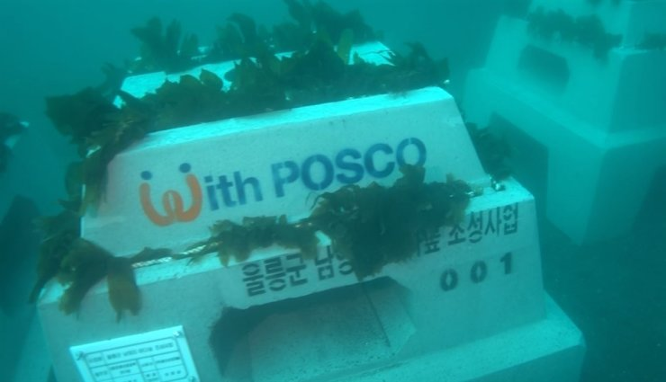 POSCO's Triton artificial reef is being installed in the ocean. / Courtesy of POSCO