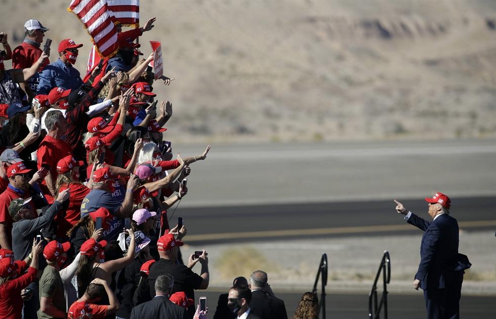 U.S. President Donald Trump speaks during a campaign rally at Laughlin/Bullhead International Airport, Wednesday, Oct. 28, 2020, in Bullhead City, Ariz. AP