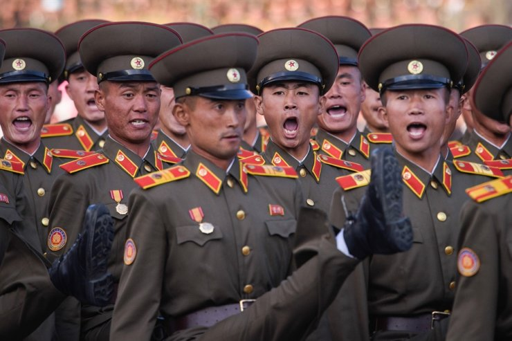 North Korean soldiers participate in a mass military parade at Kim Il-Sung Square in Pyongyang in this file photo taken Oct. 10, 2015. AFP