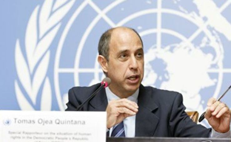 This photo released by EPA shows Tomas Ojea Quintana, the U.N. special rapporteur on North Korea's human rights situation, during a news conference in 2018. EPA-Yonhap