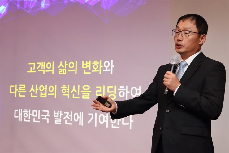 KT CEO Koo Hyun-mo talks about current and future growth factors for the company during a press conference at the Grand Inter Continental Seoul, Wednesday. / Courtesy of KT