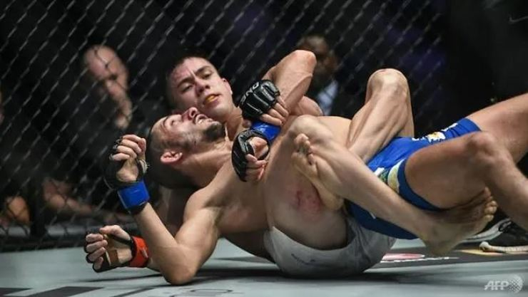 Mark Striegl (white shorts) makes his UFC debut on Sunday, Oct 18, 2020, having taken a mountainous path forged by centuries of feared Filipino warriors and followed by boxing great Manny Pacquiao. AFP