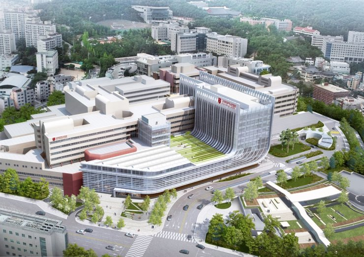 An aerial view shows Korea University Anam Hospital's building built on the university's campus in Seoul. With the completion of part of the new building, the hospital will start to treat patients. Courtesy of Korea University Anam Hospital