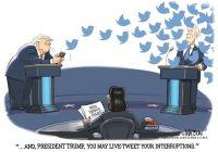 Trump live tweets debate interruptions