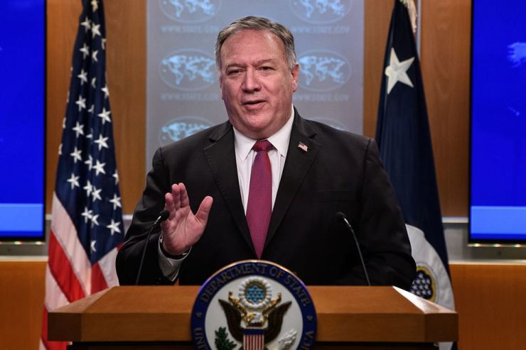 U.S. Secretary of State Mike Pompeo speaks at a news conference at the State Department in Washington, D.C., Wednesday. Reuters-Yonhap