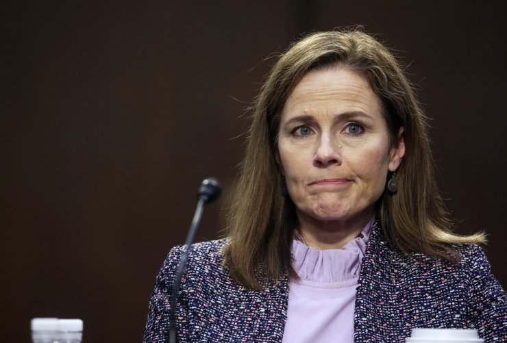 Supreme Court nominee Amy Coney Barrett attends her confirmation hearings before the Senate Judiciary Committee on Capitol Hill in Washington, Wednesday, Oct. 14, 2020. AP