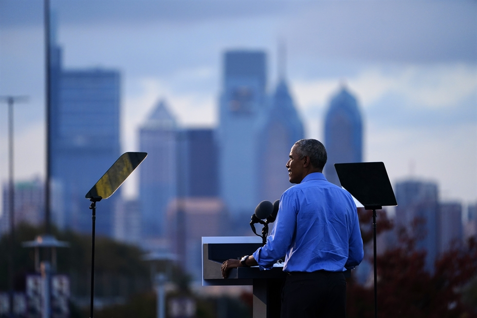 Former U.S. President Barack Obama speaks at Citizens Bank Park as he campaigns for Democratic presidential candidate former Vice President Joe Biden, Wednesday, Oct. 21, 2020, in Philadelphia. AP