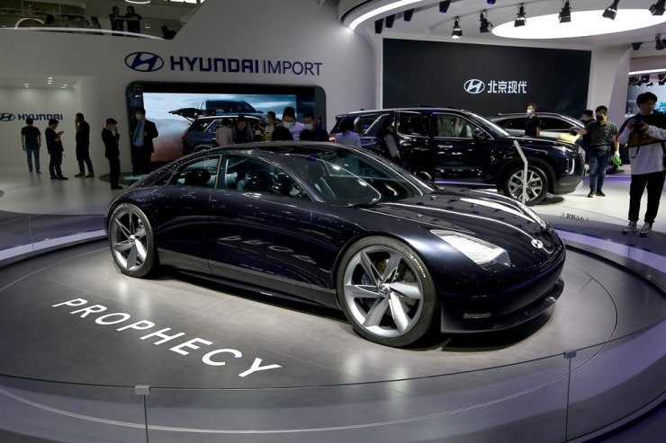 Hyundai shows its new electric Prophecy sports car (EV) at the international Auto Show 2020 in Beijing on Sept. 28, 2020. UPI
