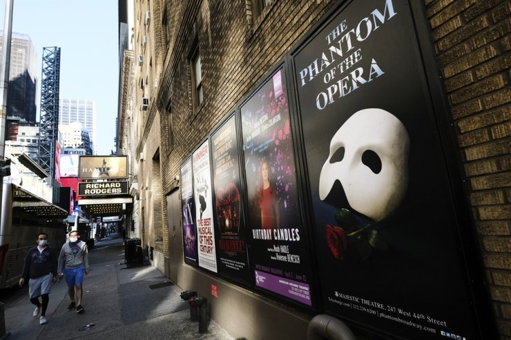 Broadway posters outside the Richard Rodgers Theatre in New York on May 13, 2020. AP