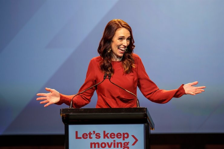 New Zealand Prime Minister Jacinda Ardern speaks at the New Zealand Labour party election night event in Auckland, Oct. 17, 2020. Ardern has won a second term in New Zealand's general election. EPA