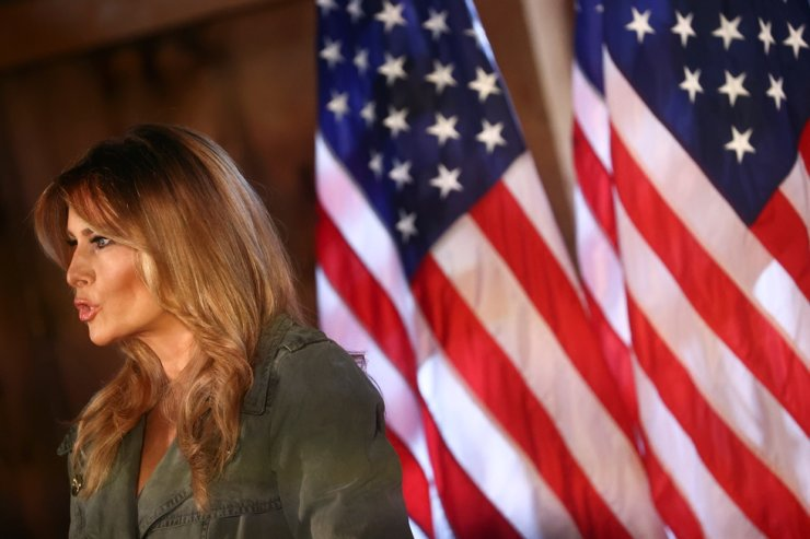 U.S. first lady Melania Trump speaks during a campaign event in Atglen, Pa., U.S., Oct. 27, 2020. Reuters