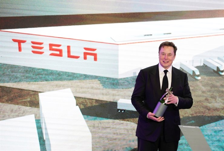Tesla CEO Elon Musk attends an opening ceremony for Tesla's China-made Model Y program in Shanghai, Jan. 7. Reuters-Yonhap