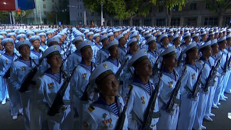 North Korean soldiers participate in a mass military parade at Kim Il-Sung Square in Pyongyang, Saturday, according to North Korea's state broadcaster. Yonhap