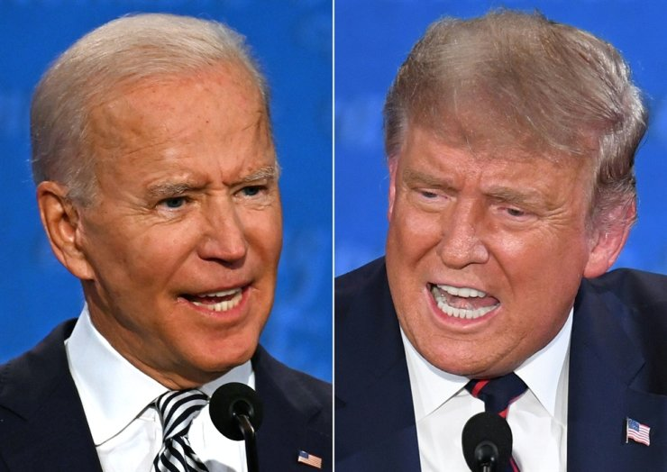 This combination of file pictures created Sept. 29 shows Democratic presidential candidate and former U.S. Vice President Joe Biden, and U.S. President Donald Trump speaking during the first presidential debate at the Case Western Reserve University and Cleveland Clinic in Cleveland, Ohio. AFP-Yonhap