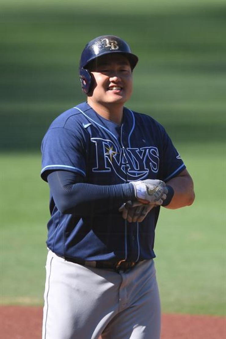 Tampa Bay Rays first baseman Choi Ji-man reacts in the second inning against the Houston Astros during game five of the 2020 ALCS at Petco Park in San Diego, California, Oct. 15. Yonhap