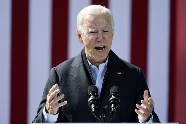 U.S. Democratic presidential candidate former Vice President Joe Biden speaks during a campaign event at Riverside High School in Durham, N.C., Sunday, Oct. 18, 2020. AP