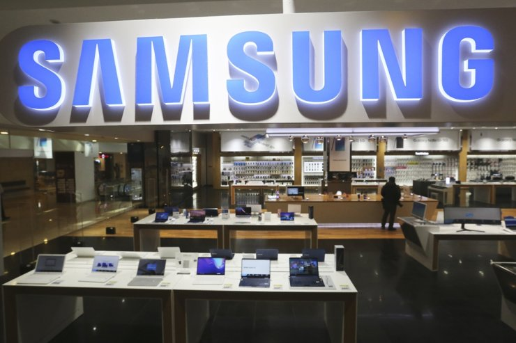 In this Jan. 30, 2020, file photo, a logo of Samsung is seen at its shop in Seoul. Korea Times file