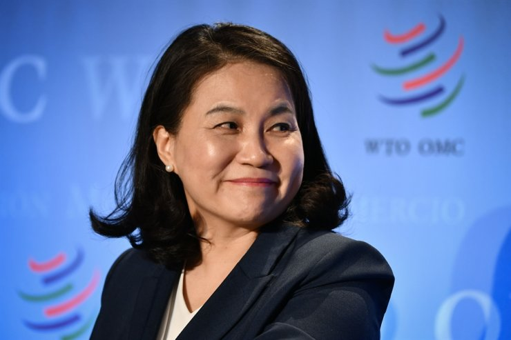 South Korean Trade Minister Yoo Myung-hee attends a press conference following her hearing before 164 member states' representatives, as part of the application process to head the World Trade Organization (WTO) as Director General in Geneva on July 16, 2020. AFP-Yonhap