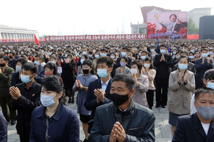 Thousands rally to welcome the 8th Congress of the Workers' Party of Korea at Kim Il Sung Square in Pyongyang, North Korea, Oct. 12, 2020. AP