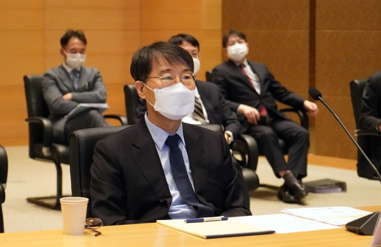 South Korea's Ambassador to China Jang Ha-sung attends a video-linked parliamentary audit session, Wednesday. Yonhap