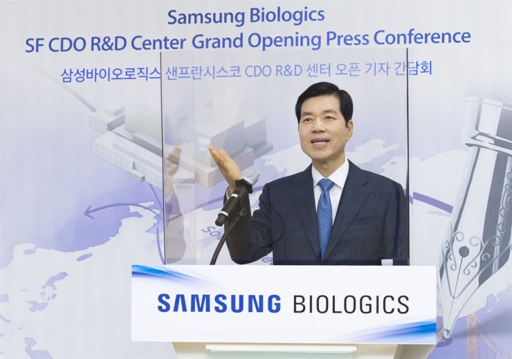 Samsung Biologics CEO Kim Tae-han speaks during an online press conference on the company's new R&D center in San Francisco, Thursday. Courtesy of Samsung Biologics