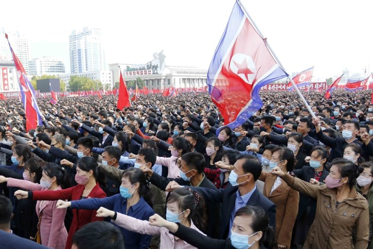 Thousands rally to welcome the 8th Congress of the Workers' Party of Korea at Kim Il Sung Square in Pyongyang, Monday, Oct. 12, 2020. AP