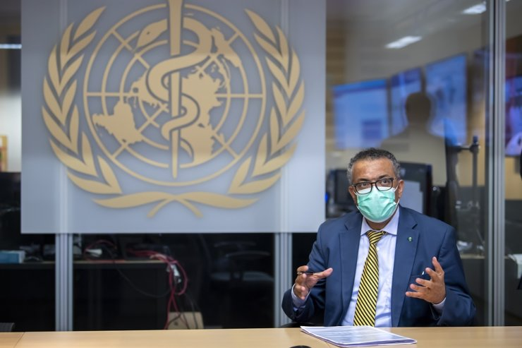 Tedros Adhanom Ghebreyesus, Director General of the World Health Organization (WHO), speaks during a visit of the Presidents of the Swiss Federal Chambers, at the World Health Organization (WHO) headquarters in Geneva, Switzerland, 15 October 2020. EPA-Yonhap