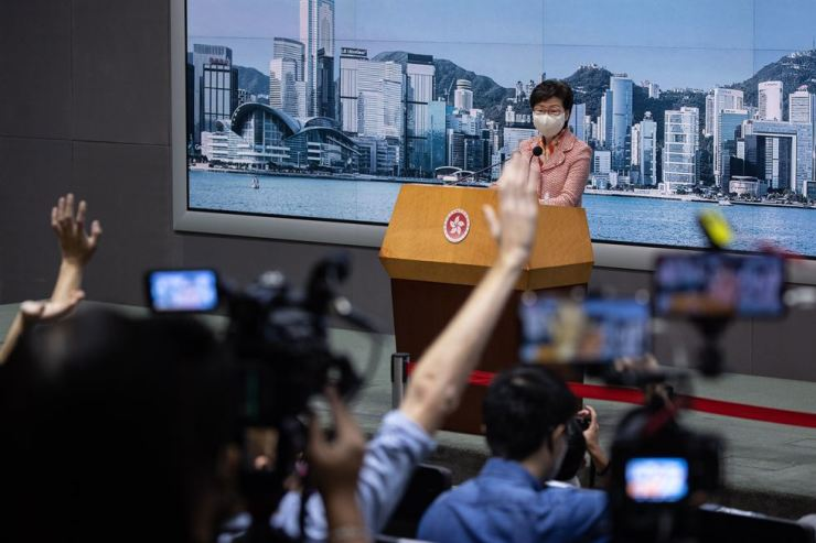 Hong Kong Chief Executive Carrie Lam speaks during a press conference in Hong Kong, China, Oct. 6. Lam commented on the Education Bureau's decision to cancel the registration of a school teacher it says used pro-Hong Kong independence materials in class. EPA-Yonhap