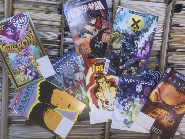 Some of the 'Free Comic Book Day' titles available at Dice Latte in northwestern Seoul / Courtesy of Kyung Lee