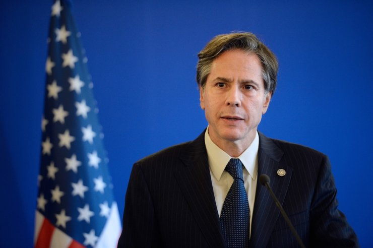 In this file photo, former U.S. Deputy Secretary of State Antony J Blinken gives a joint press conference following a meeting with Foreign Affairs member of the anti-Islamic State coalition on June 2, 2015, in Paris. AFP