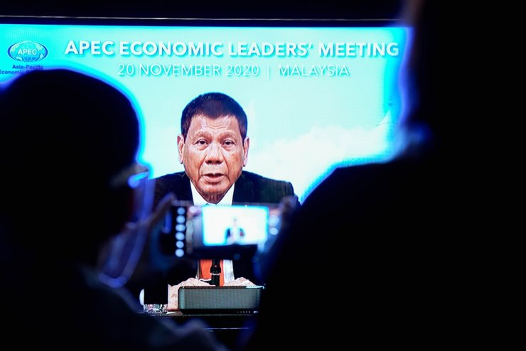 In this handout photo taken Nov. 20, 2020, Philippine President Rodrigo Duterte speaks in Manila during the virtual APEC meeting among world leaders. AFP
