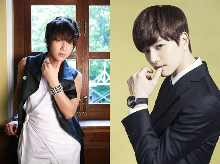 K-pop boy band SUPERNOVA's members Yunhak, left, and Sungje were booked in September over allegations of illegal gambling. Courtesy of Maroo Entertainment