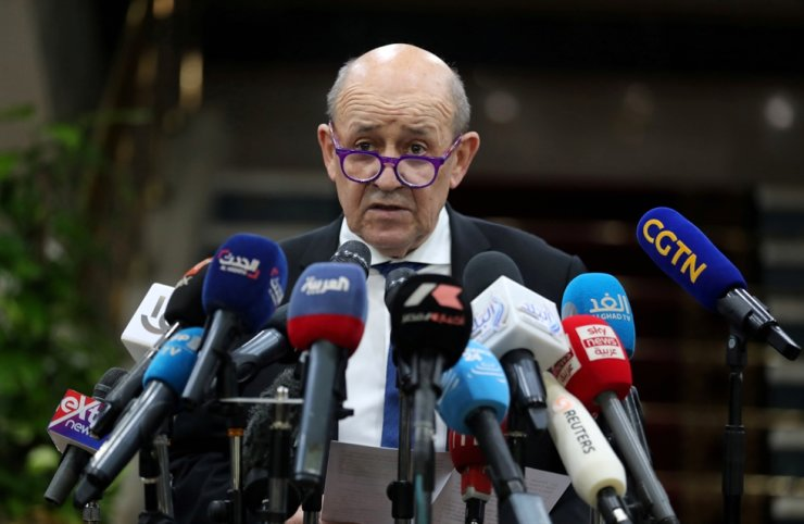 French Foreign Minister Jean-Yves Le Drian speaks during a news conference with Sheikh Ahmed al-Tayeb, the Grand Imam of Egypt's Al-Azhar (not pictured), in Cairo, Egypt, Nov. 8, 2020. Reuters