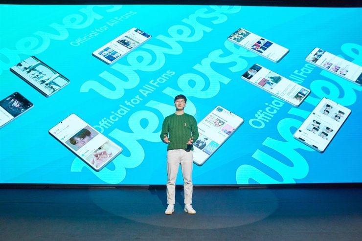 BeNX CEO Steve Seo gives a speech on its business platform Weverse during the firm's first anniversary of foundation at its headquarters in Seoul, Aug. 13. / Courtesy of Big Hit Entertainment