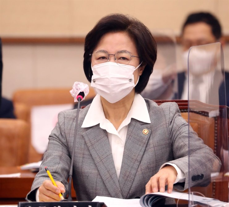 Justice Minister Choo Mi-ae attends a National Assembly session in Seoul, Nov. 18. Choo suspended Prosecutor General Yoon Seok-youl from his duty, Tuesday, amid feud over prosecutorial reform and multiple investigations. Korea Times photo by Bae Woo-han