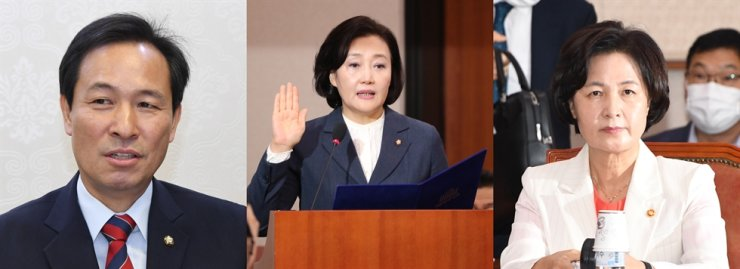From left are Rep. Woo Sang-ho of the Democratic Party of Korea, SMEs and Startups Minister Park Young-sun and Justice Minister Choo Mi-ae. Some heavyweights of the ruling party are mentioned as potential candidates for the mayoral post of the country's capital, Seoul , including Woo, Park and Choo. Korea Times file