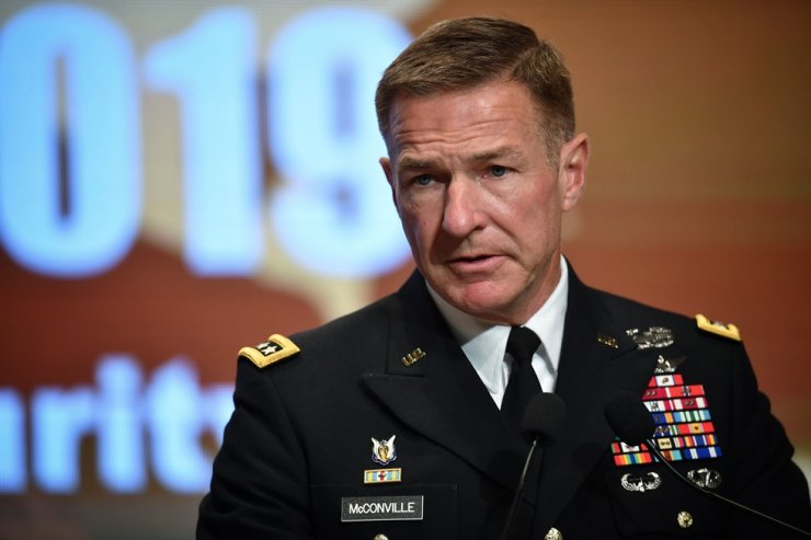 U.S. Army Chief of Staff General James McConville attends the opening ceremony of the Indo-Pacific Army Chiefs Conference meeting in Bangkok on September 9, 2019. AFP-Yonhap