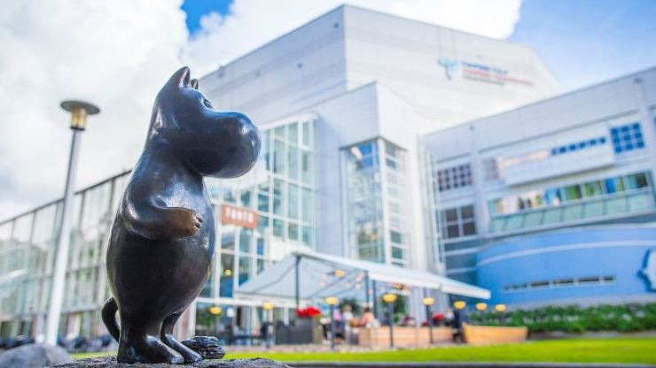 A Moomin statue stands in front of Moomin Museum in Tampere, Finland. / Courtesy of Visit Finland