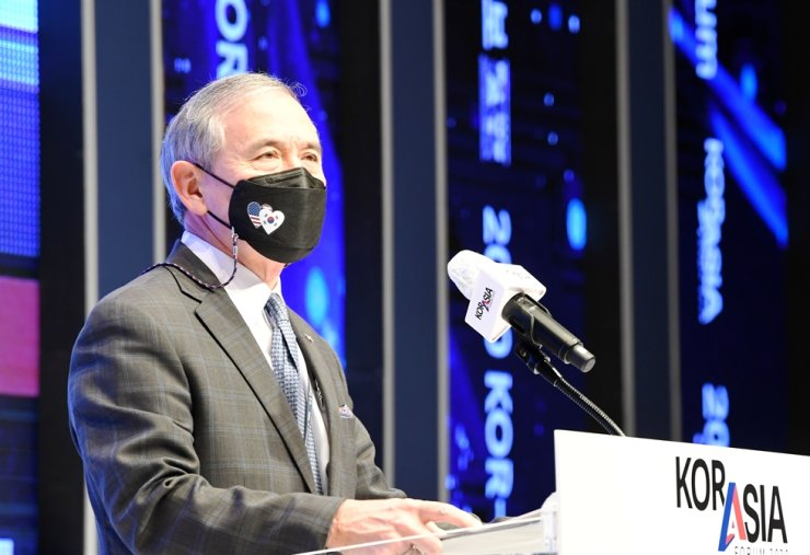 U.S. Ambassador to Korea Harry Harris delivers a congratulatory speech at the Kor-Asia Forum 2020 held at The Shilla Seoul hotel, Wednesday, hosted by The Korea Times and its sister paper the Hankook Ilbo. Korea Times photo by Hong In-ki