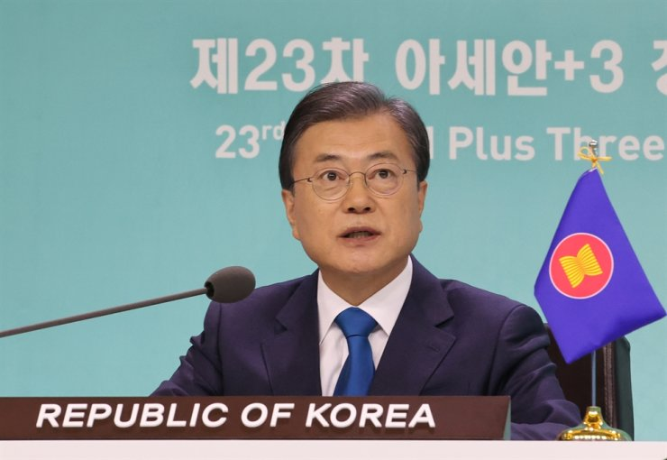 President Moon Jae-in participated in a virtual summit with the leaders of Japan, China and 10 Southeast Asian countries, Saturday, and stressed the need for closer partnerships for health care and economic growth. Yonhap