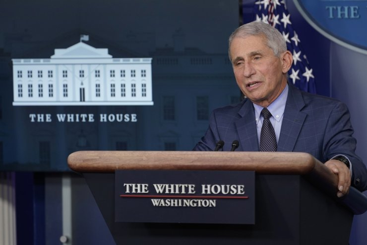 Anthony Fauci, director of the National Institute of Allergy and Infectious Diseases, speaks during a briefing with the coronavirus task force at the White House in Washington, Thursday, Nov. 19, 2020. AP